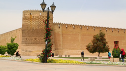 in iran shiraz the old castle in the city defensive architecture near a garden Live Action