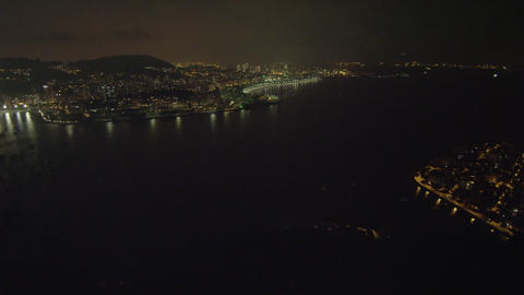 An aerial panoramic view of the skyline of Rio with it's mountains in the distan Footage