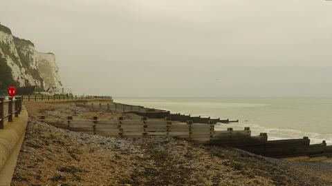 View from quay on the sea and rocks in Dover Stock Video Footage