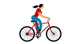 Woman is riding a bicycle 애니메이션