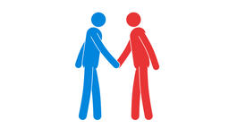 Icons of red and blue people shake hands Animation
