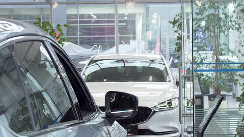 Young man rubbing his chin thoughtfully, choosing new car to buy at dealership Footage