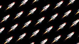 Flying rotating space rockets Animation
