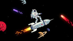 Astronaut in spacesuit flies on a rocket like surfer through space CG動画