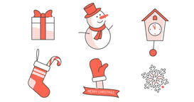 Christmas animated icons in retro style Animation