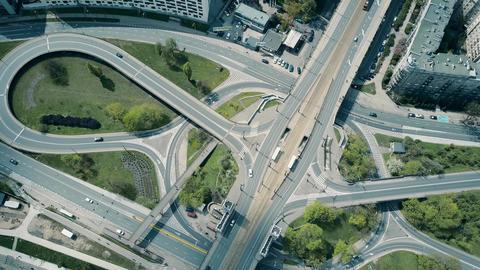 Aerial of big urban road interchange Live影片