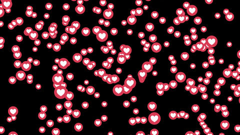love heart icons on Facebook live video isolated on black background. Social Footage
