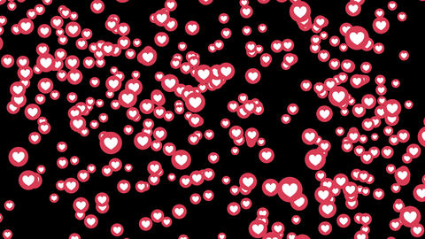 love heart icons on Facebook live video isolated on black... Stock Video Footage