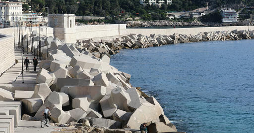 Coastal Erosion Protection With Concrete Tetrapods Footage