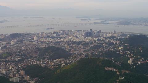 Aerial shot of Rio city with Niteroi bridge Footage
