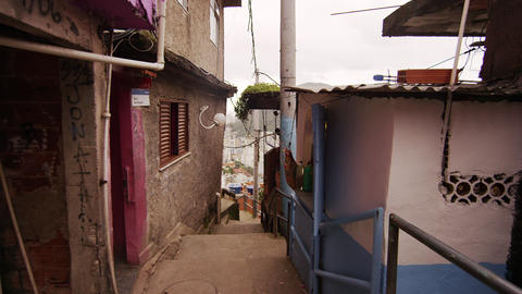 RIO DE JANEIRO, BRAZIL - JUNE 23: Slow dolly shot inside favela on June 23, 2013 Footage