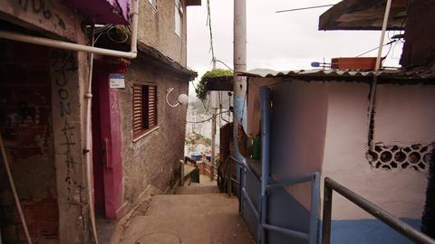RIO DE JANEIRO, BRAZIL - JUNE 23: Slow dolly shot inside favela on June 23, 2013 Footage