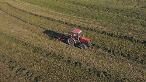 Aerial - Tractor collecting grass into rows Footage