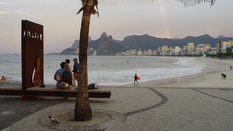 Tracking shot of a pebbled rest area at Ipanema Beach in Rio de Janeiro Footage