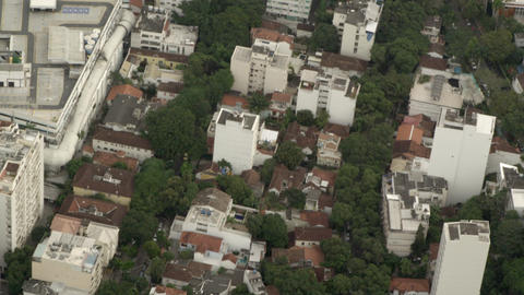 Aerial footage of buildings and trees Footage