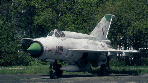 WARSAW, POLAND - MAY, 13, 2017. Telephoto lens shot of old Polish Mig-21 fighter Footage