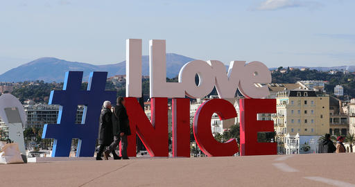 Large Letters With Hashtag I LOVE NICE In Nice France Live Action