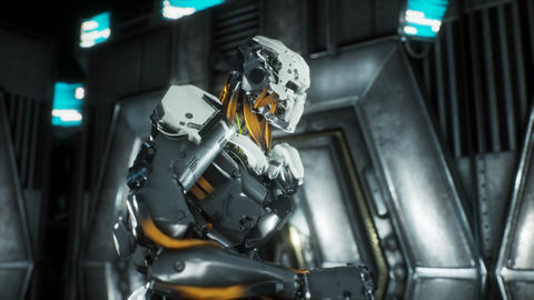 Robot soldier runs through a futuristic Sci-Fi tunnel with sparks and smoke Animation