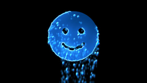 Liquid symbol smile appears with water droplets. Then dissolves with drops of Animation