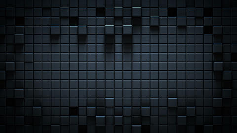 Surface of textured black 3D cubes seamless loop animation Animation