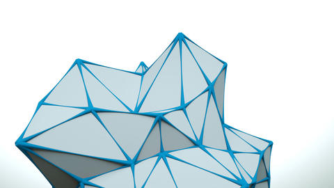 Low poly white surface with blue edges loopable 3D animation Animation
