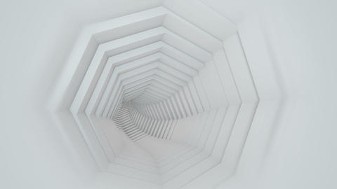 Endless white tunnel 3D render seamless loop animation Animation