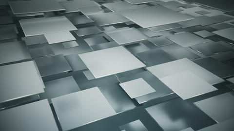 Flying gray squares seamless loop 3D render animation Animation