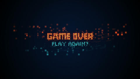 Game over phrase in pixel art seamless loop animation Stock Video Footage