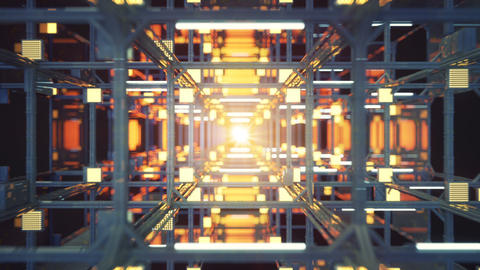 Technology tunnel with metallic structure seamless loop Animation