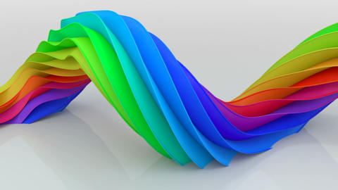Bright colorful curved shape twisting seamless loop 3D render animation Animation