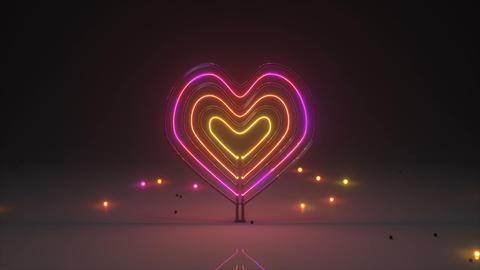 Flickering neon light heart symbol 3D render seamless loop animation Animation