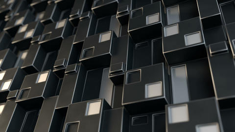 Black sci-fi wall panel 3D render seamless loop animation Animation