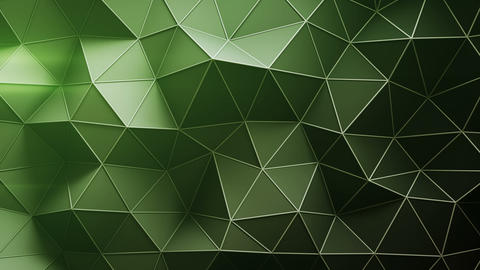 Green low poly construction with lines on edges loopable 3D render animation Animation