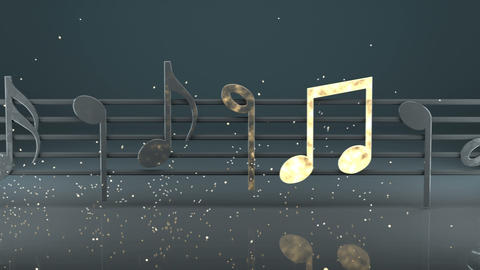 Glowing music notes 3D render seamless loop animation Animation