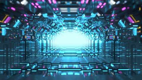 Futuristic technology tunnel seamless loop 3D render animation Animation