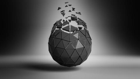 Black sphere with grungy surface and exploded polygons loopable Animation