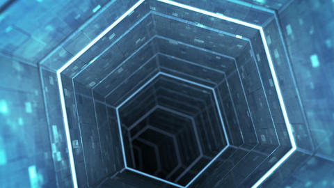Abstract technology tunnel seamless loop 3D render animation Animation