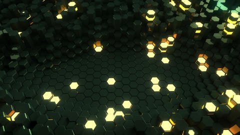 Glossy black and glowing hexagon shapes 3D render seamless loop animation Animation