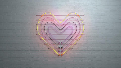Neon light heart symbol on brick wall 3D render seamless loop animation Animation