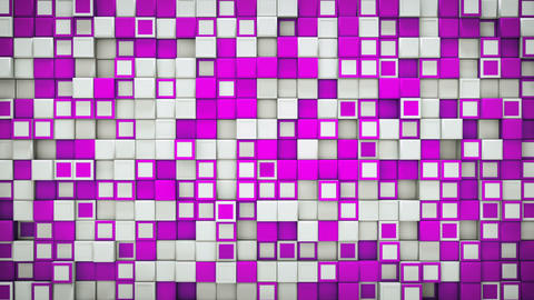 Wall of purple and white 3D boxes abstract loopable background Animation