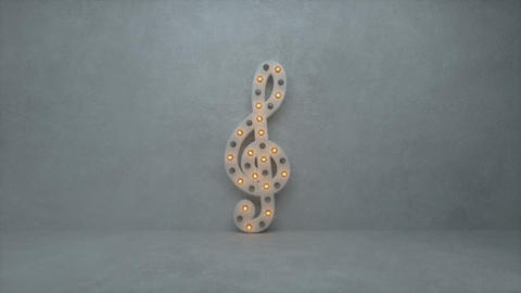 Illuminated clef note symbol with lamps 3D render seamless loop animation Animation