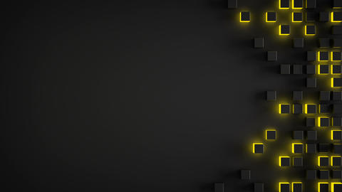 Futuristic sci-fi yellow cubes on edge seamless loop 3D render Animation
