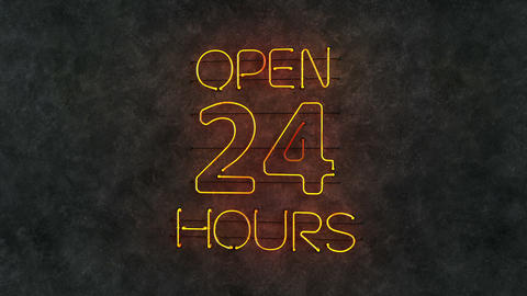 Open 24 hours neon light text seamless loop 3D render animation Animation