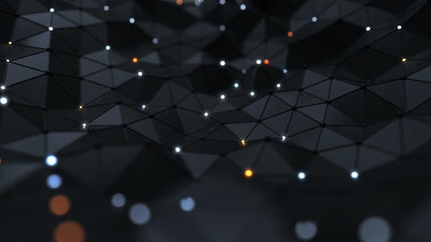 Low poly black surface with glowing nodes seamless loop 3D render animation Animation