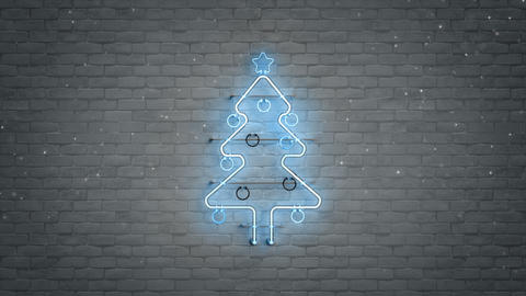 Blue neon christmas tree symbol and snowfall seamless loop 3D render animation Animation