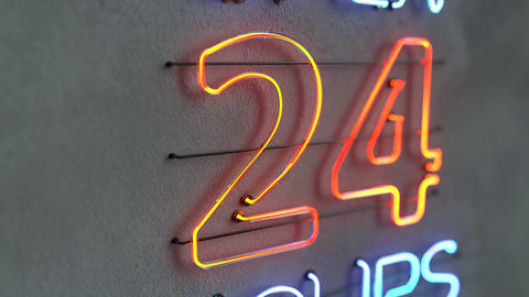 Glowing neon light sign open 24 hours 3D render animation Animation