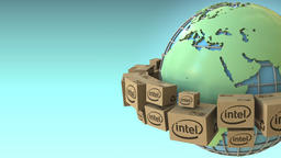 Boxes with Intel logo around the world, Europe and Africa emphasized. Conceptual Footage