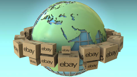 Boxes with eBay logo around the world, Africa and Europe emphasized. Conceptual Footage