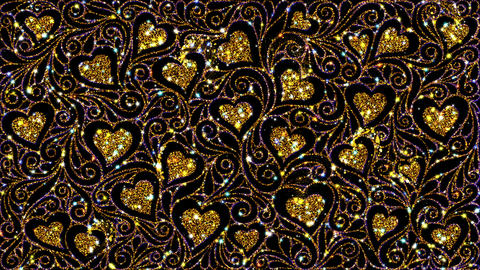 Golden Hearts Magical Ornate Pattern CG動画素材
