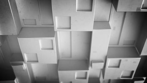 Futuristic techno gray panel with cubic clusters 3D render loopable animation Animation